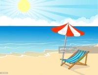 Cartoon Beach Chair And Umbrella On Tropical Beach Vector ...