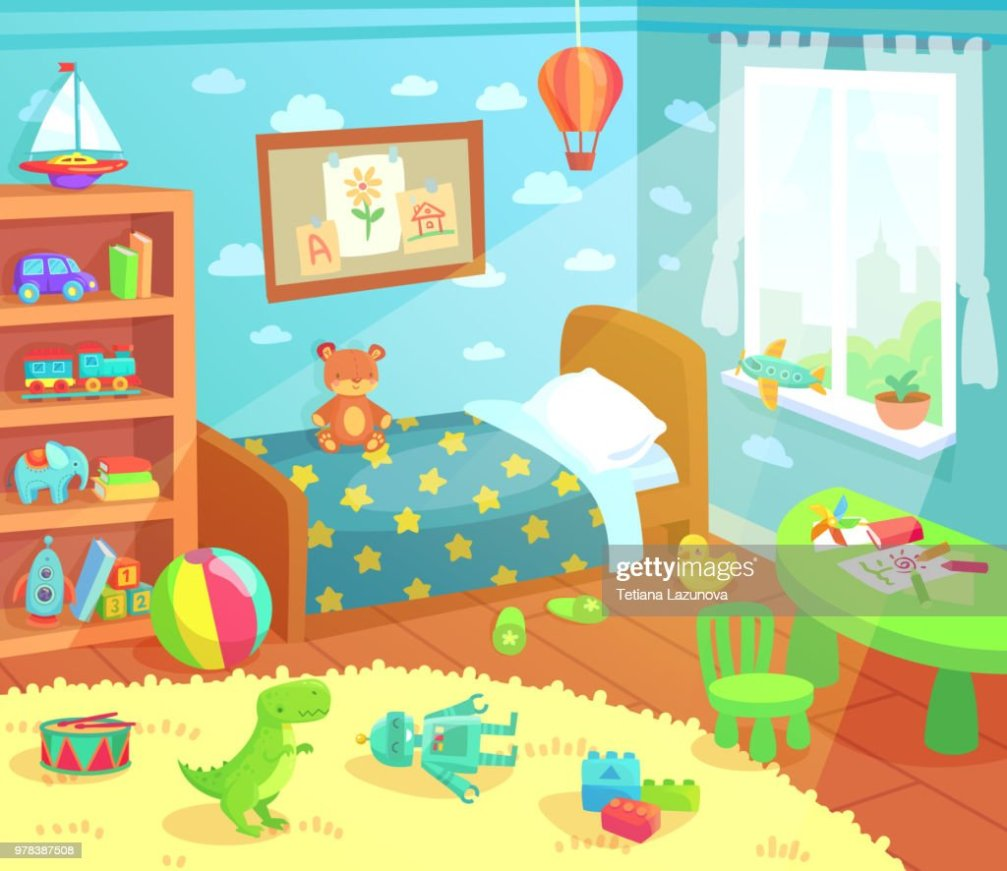 Interior De Dormitorio De Nios De Dibujos Animados Nios
