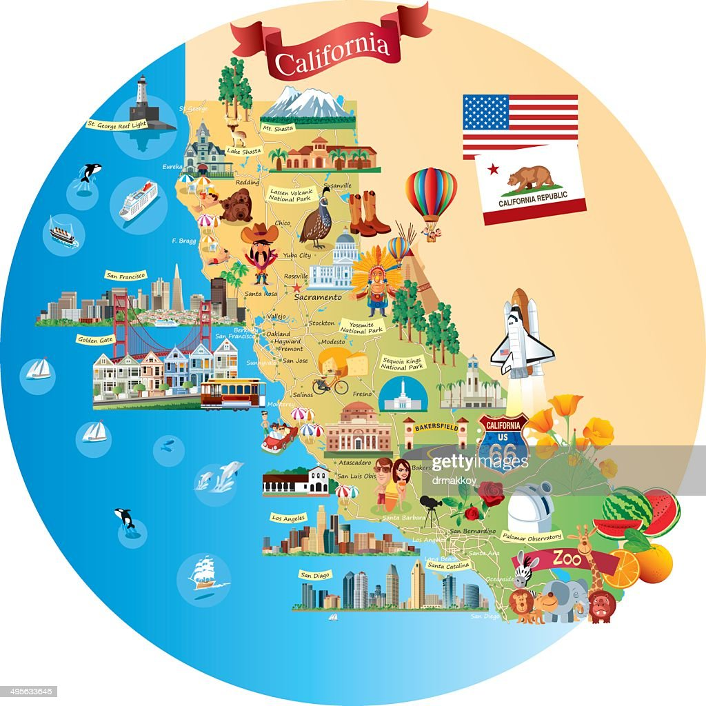 Cartoon Map Of California Vector Art Getty Images