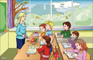 Cartoon Of Students In A Classroom Listening To Teacher High Res Vector Graphic Getty Images