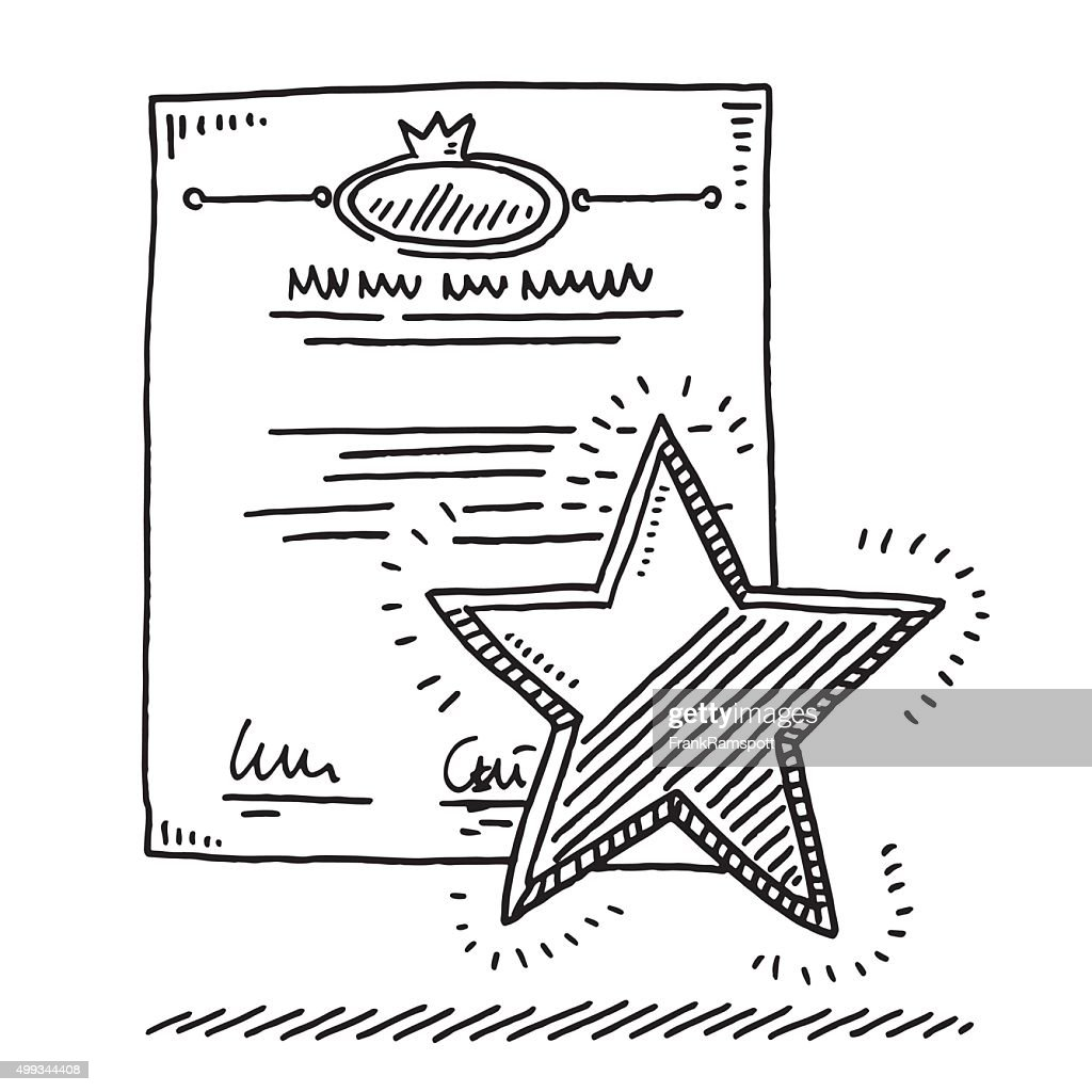 Certificate Star Award Drawing High-Res Vector Graphic