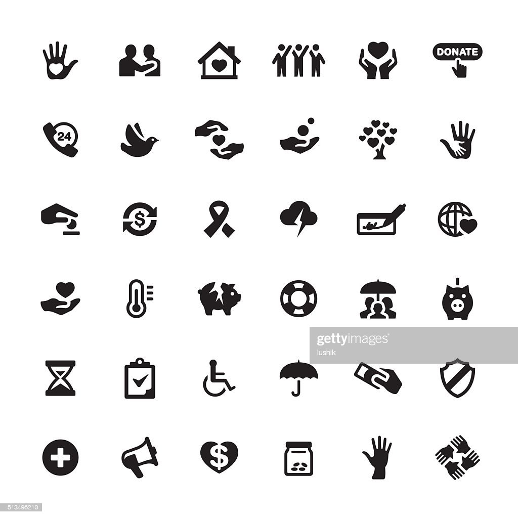 Charity And Relief Work Vector Symbols And Icons Vector