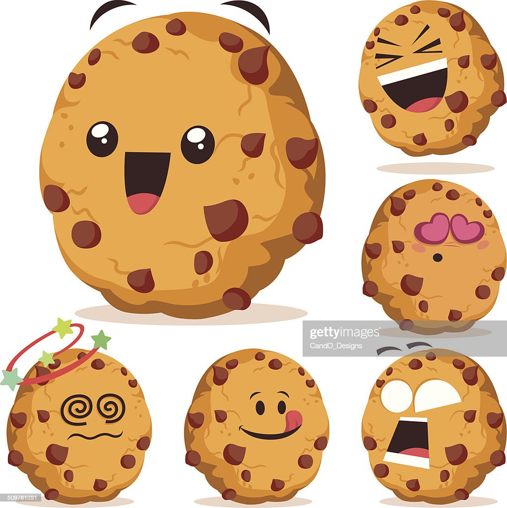 chocolate chip cookie cartoon set