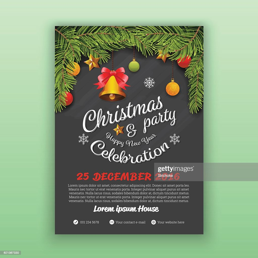 Christmas & Happy New Year Party Flyer Template : Vector Art