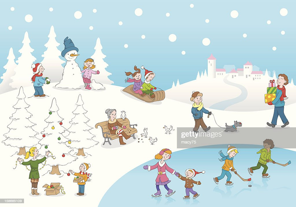 Christmas Winterscene Kids Playing Snow High-Res Vector Graphic - Getty Images