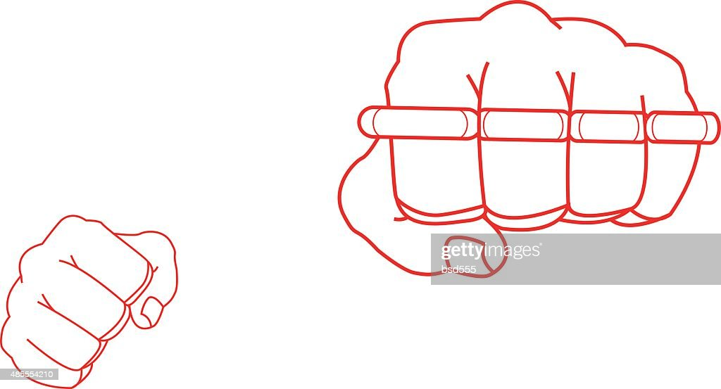 brass knuckles diagram switch relay wiring clenched fists holding brassknuckle punch contour vector art knuckle