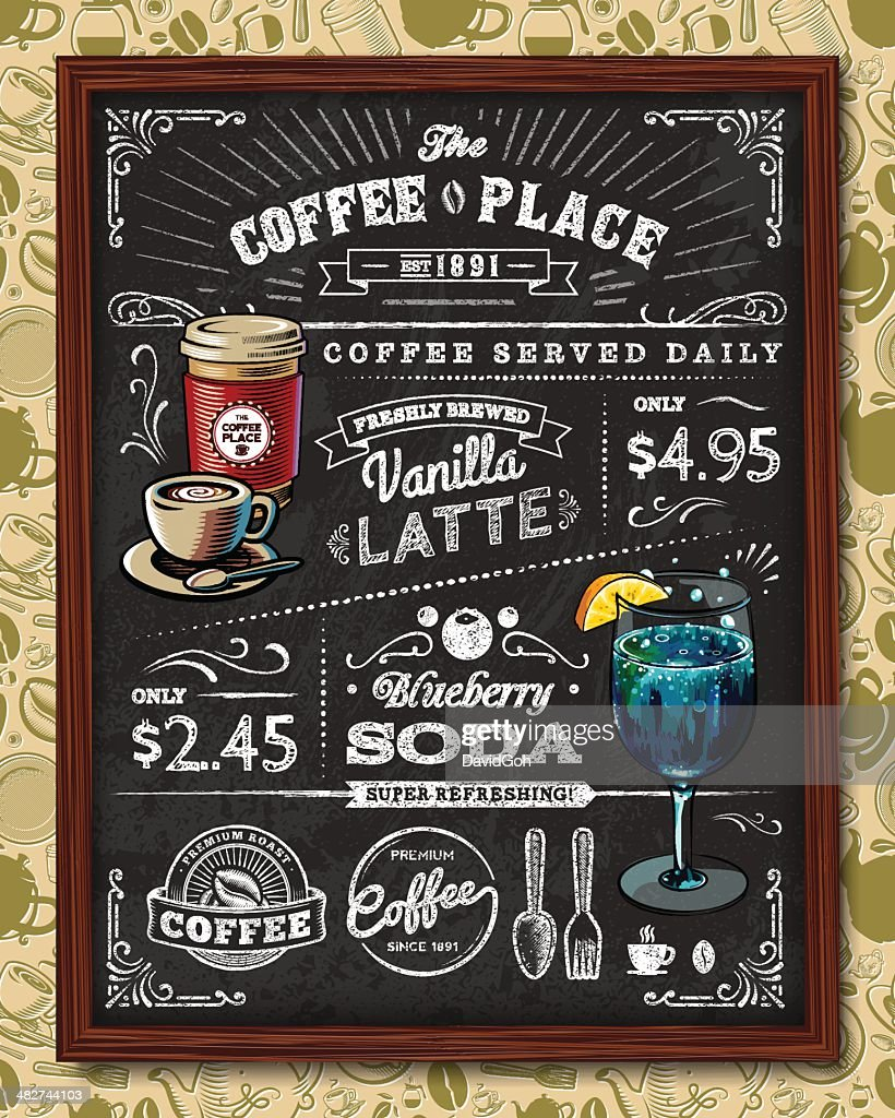 hight resolution of coffee chalkboard elements