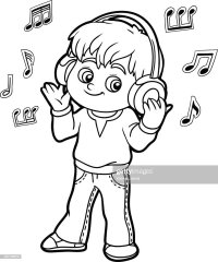 Coloring Book Little Boy Listening To Music On Headphones . 75489a7b7137