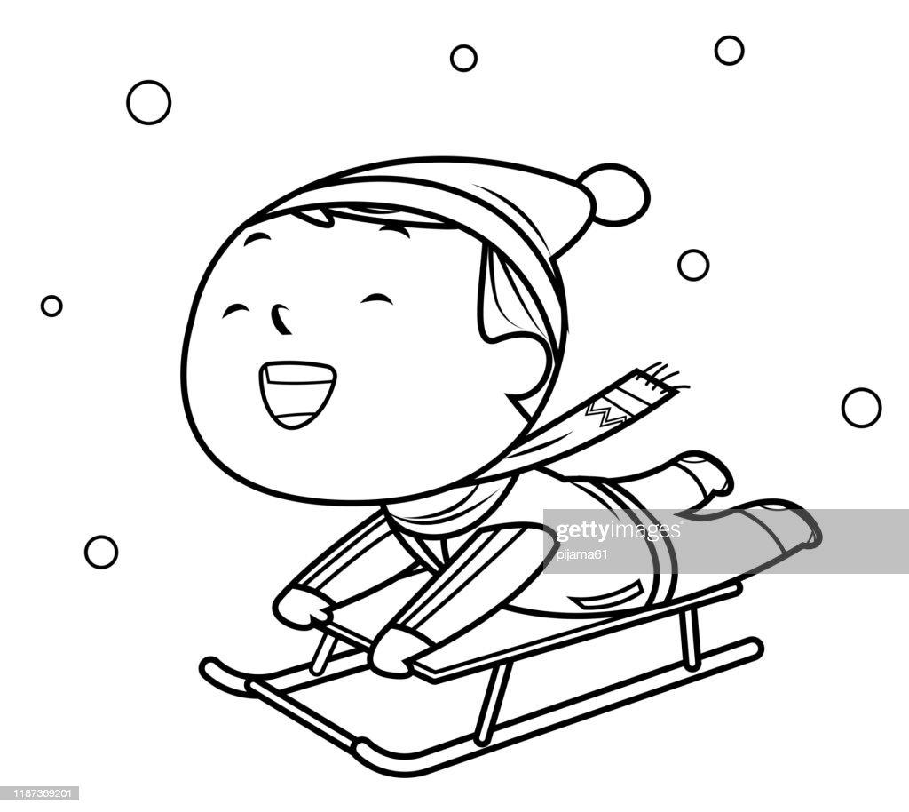 https www gettyimages ch detail illustration coloring book little boy on a sled lizenfreie illustration 1187369201 language fr