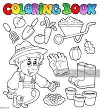 Libro Da Colorare Con Tema Del Giardino Arte vettoriale ...