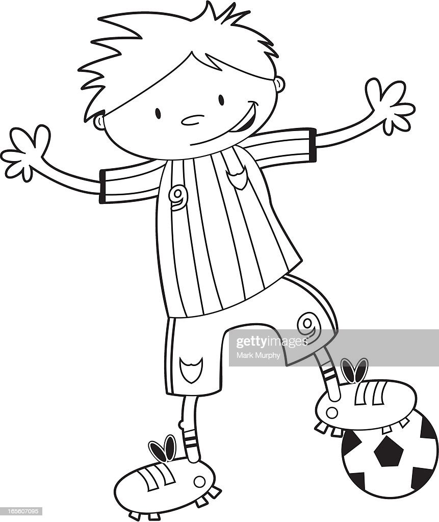 Colour Him In Soccer Boy Template High-Res Vector Graphic