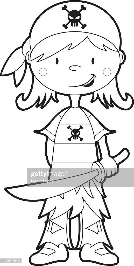 Colour In Pirate Girl Template High-Res Vector Graphic