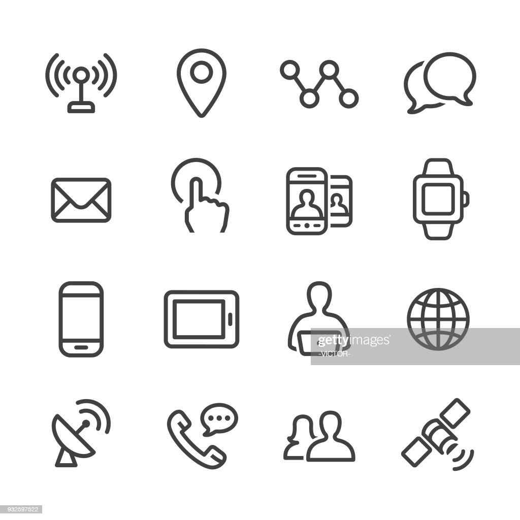 Communication Technology Icons Set Line Series High-Res