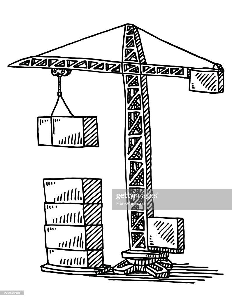 Construction Crane Building Blocks Drawing Vector Art