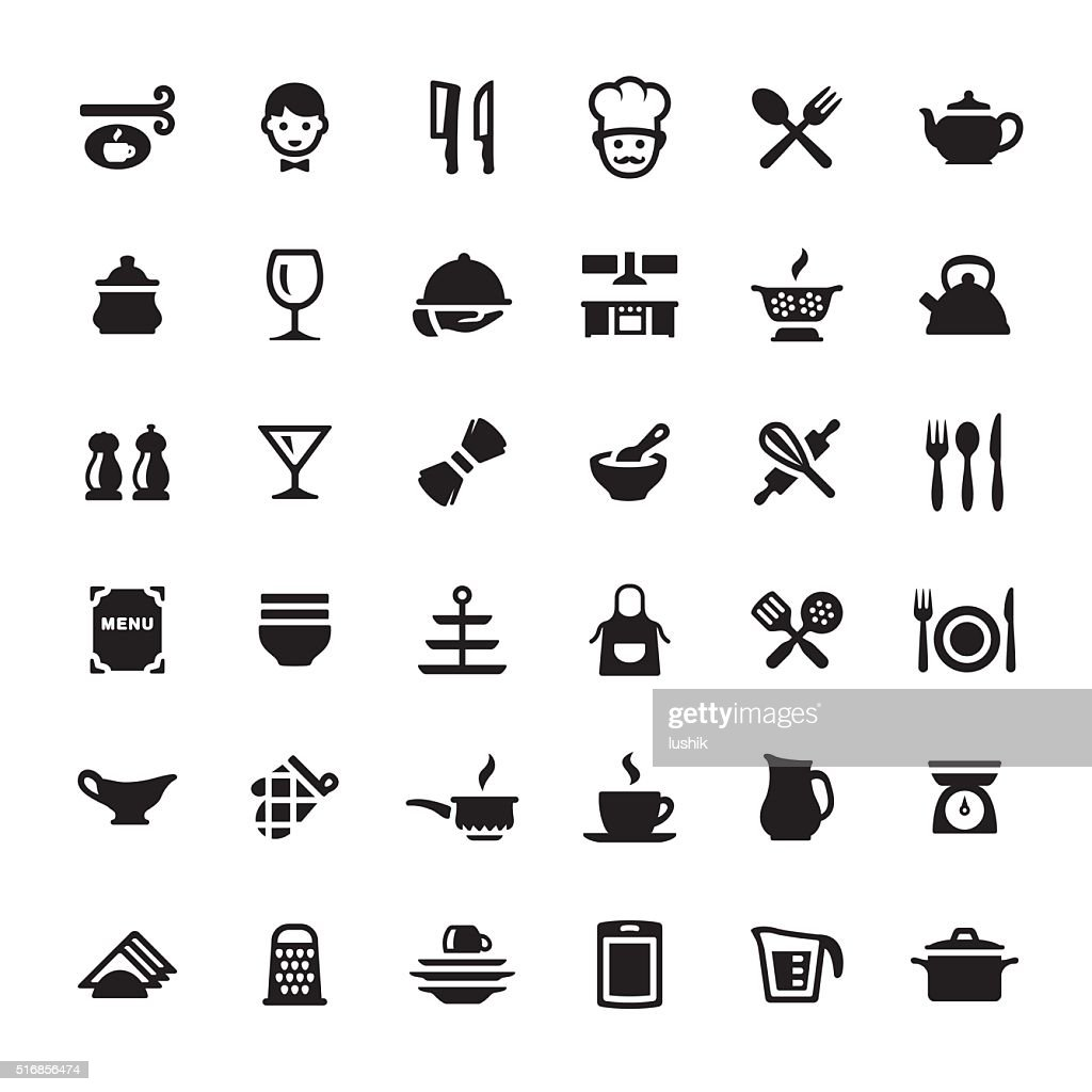 Cooking Kitchen Utensil Vector Symbols And Icons Vector