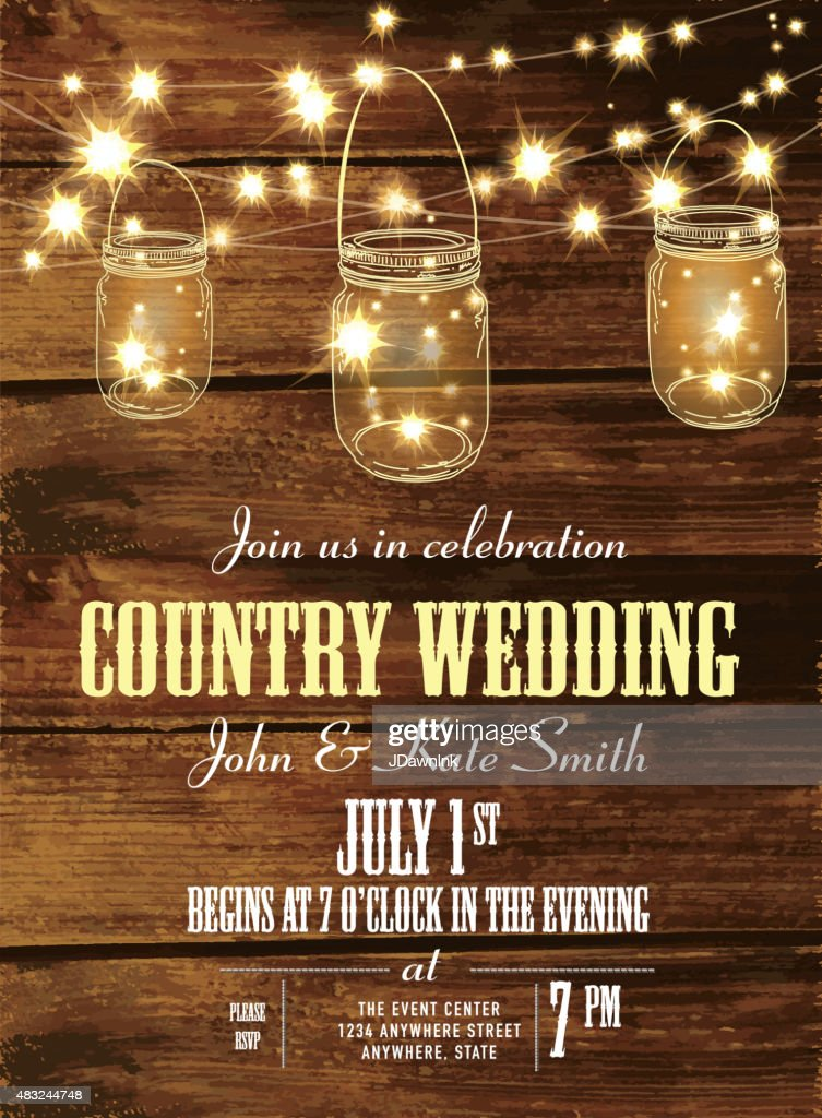 Country Wedding Invitation Design Template Jar And String