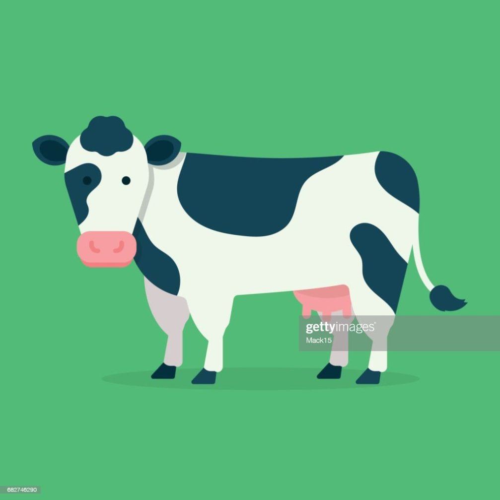 cow isolated on green