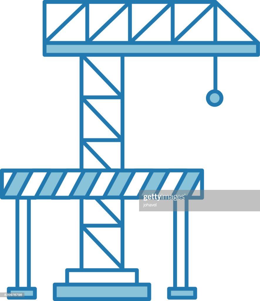 hight resolution of crane construction with barricade stock vector