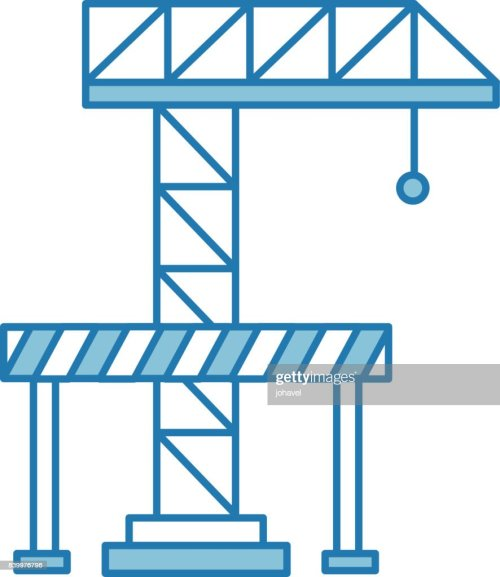 small resolution of crane construction with barricade stock vector