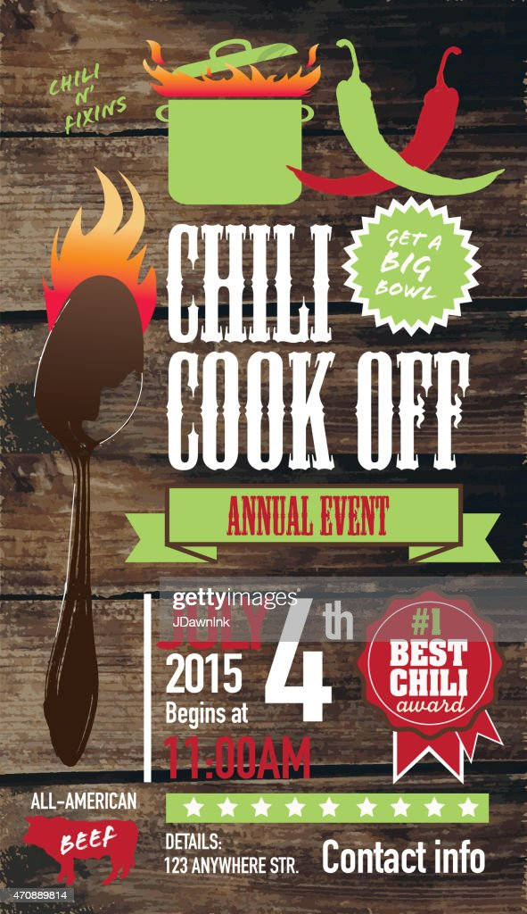 Cute Chili Cookoff Invitation Design Template On Wooden Background Vector Art  Getty Images