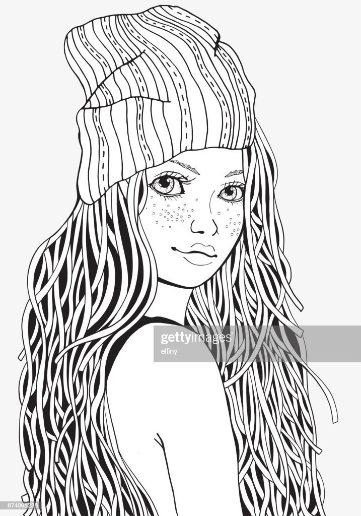 Cute Girl Coloring Book Page For Adult A4 Size Black And
