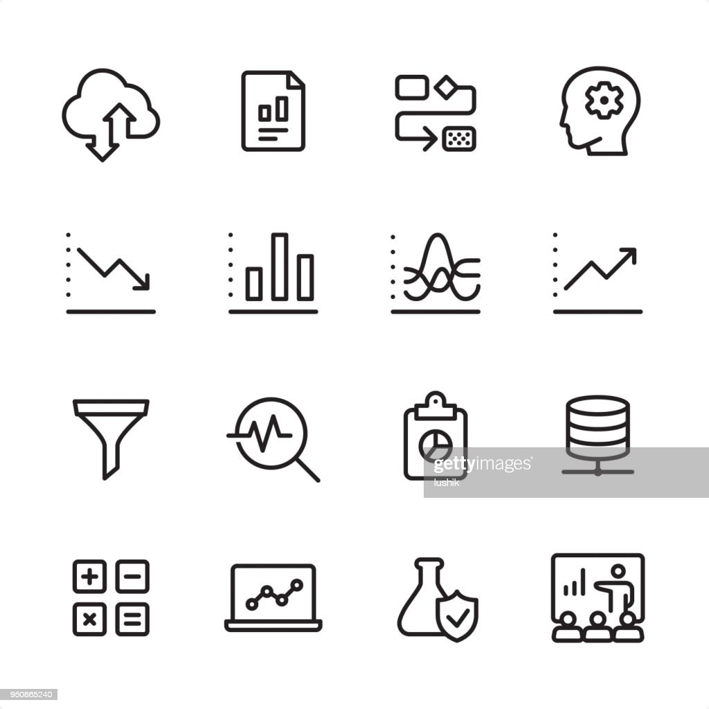 Data Analytics Outline Icon Set High-Res Vector Graphic