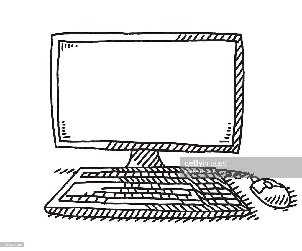 Desktop Computer With Keyboard And Mouse Drawing High-Res