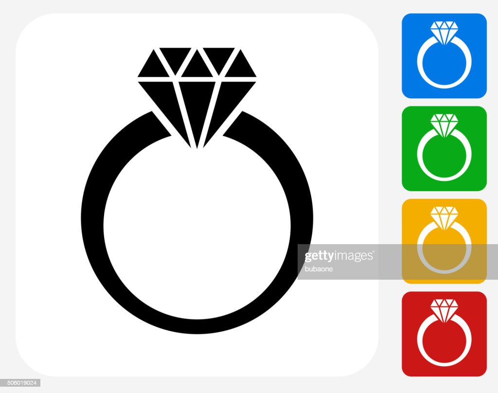 hight resolution of diamond ring icon flat graphic design