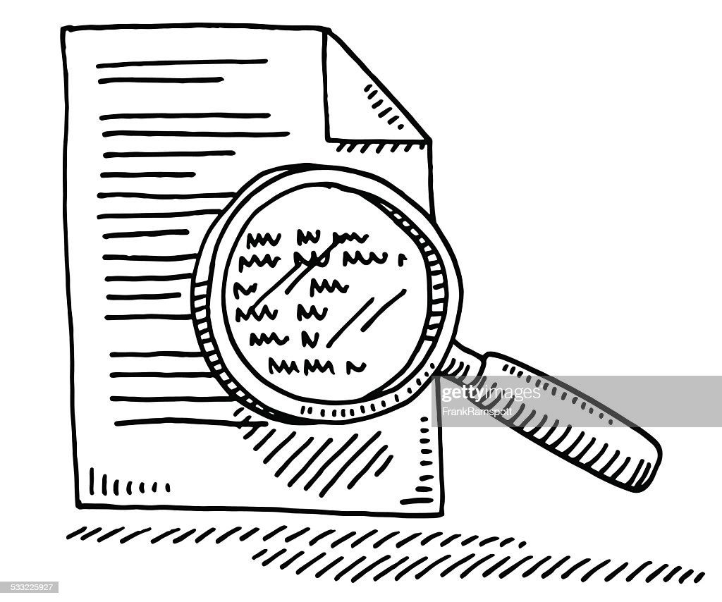 Document Magnifying Glass Symbol Drawing Vector Art
