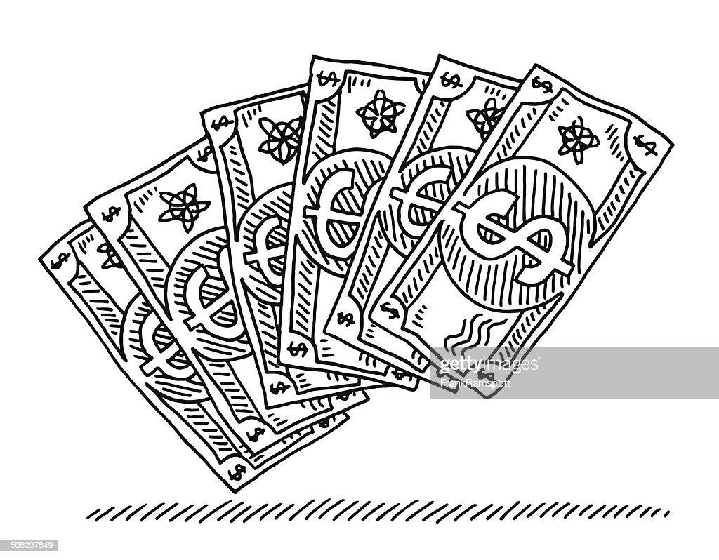 Us Dollar Banknotes Cartoon Drawing High-Res Vector