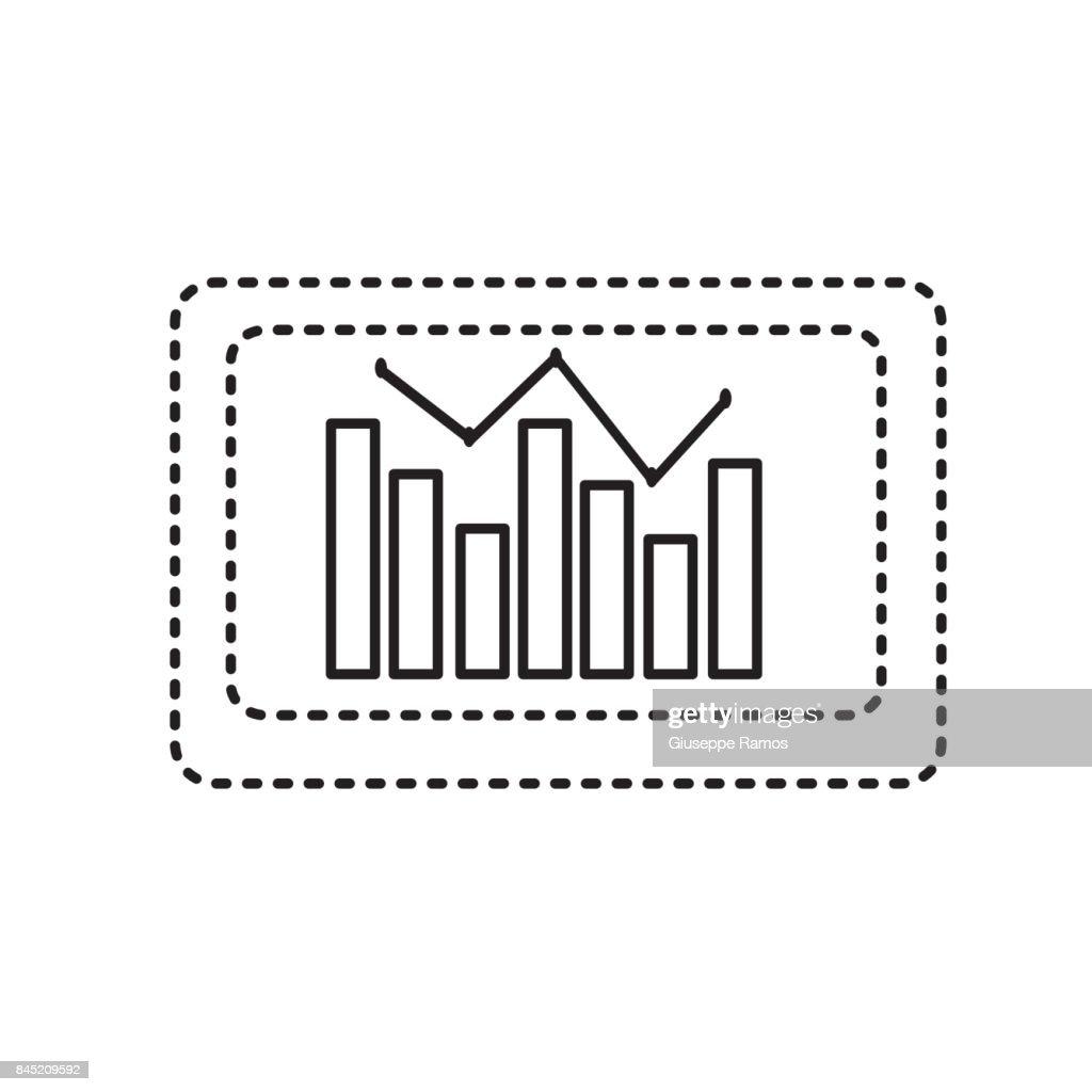 hight resolution of dotted shape computer with statistics diagram bar stock illustration