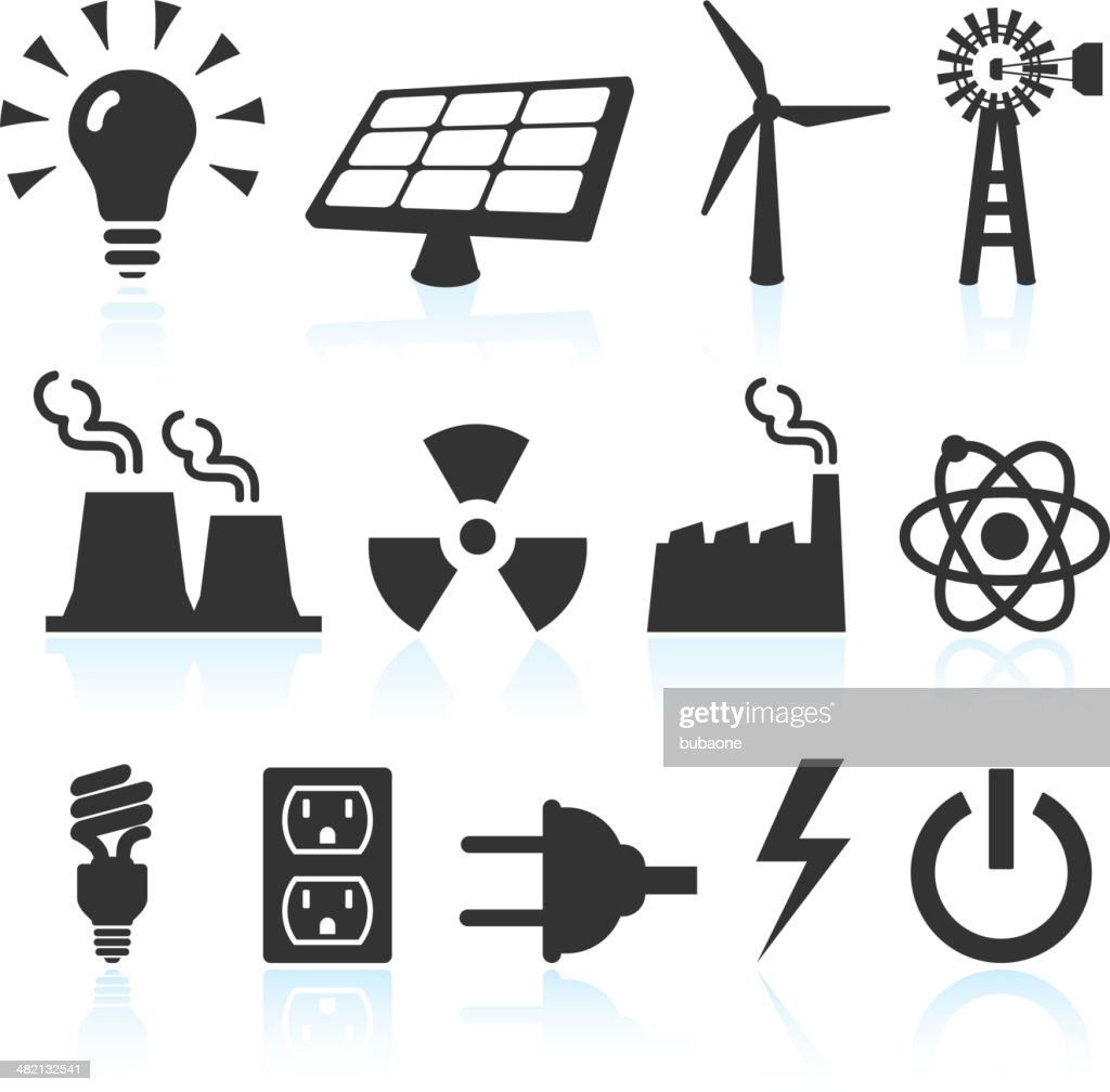 Electricity And Power Generation Black White Vector Icon