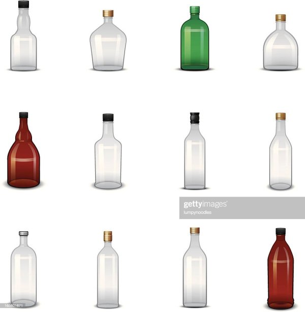 Empty Liquor Bottle Icons Vector Art Getty