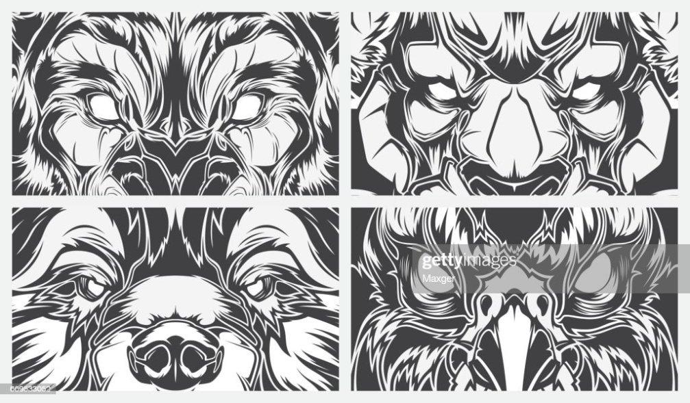 Animales Peligrosos De Ojos Tatuaje Estilo Vector Fondo Arte