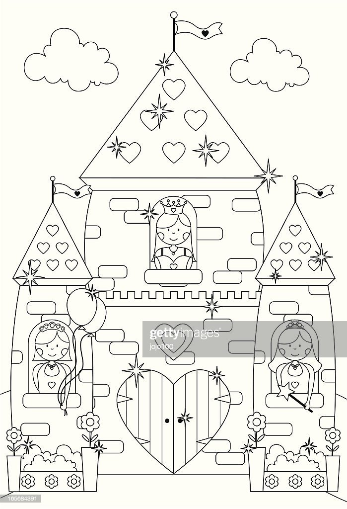 Fairytale Sparkly Castle And Princess Characters To Color