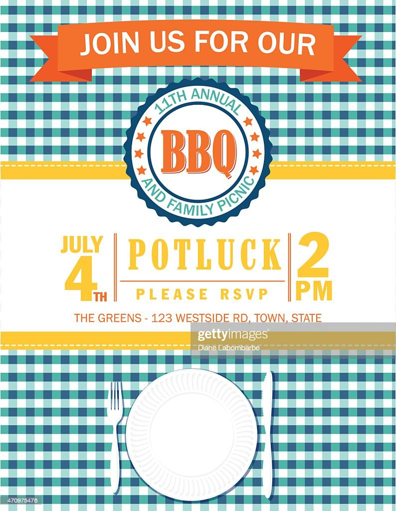 Family Picnic Invitation Template With Checked Tablecloth Vector Art ...