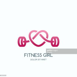 Female Fitness Gym Vector Icon Or Emblem With Pink Barbell Heart Shape Design For Woman Sports Club Workout High Res Vector Graphic Getty Images