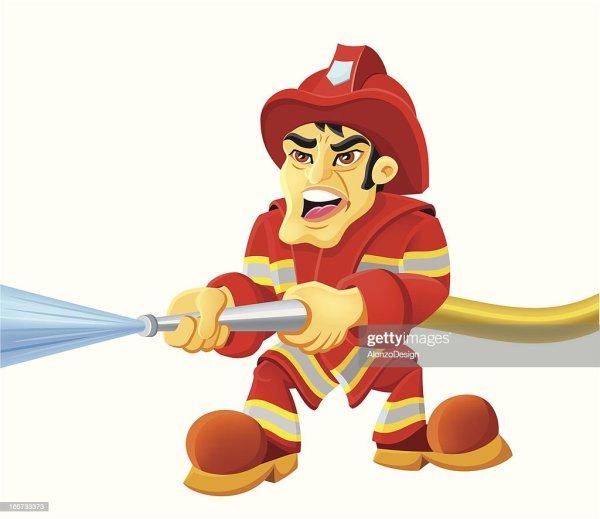 Firefighter Cartoon Vector Art Getty