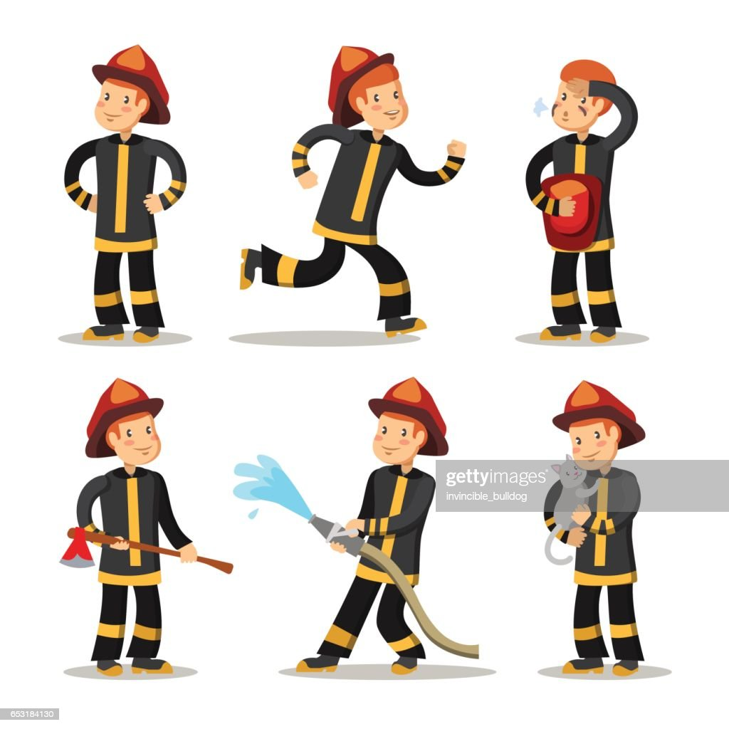 fireman cartoon character set