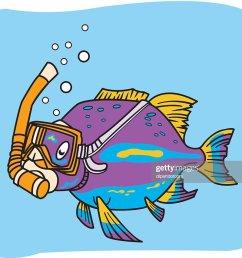 poisson avec masque et tuba clipart vectoriel [ 1024 x 852 Pixel ]