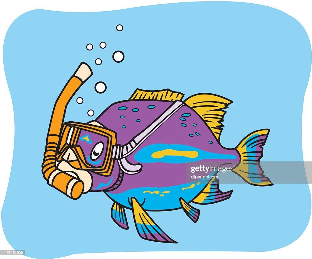 hight resolution of poisson avec masque et tuba clipart vectoriel