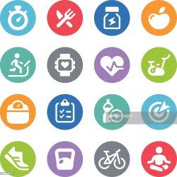 Fitness Icon Set Circle Illustrations High Res Vector Graphic Getty Images