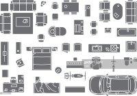 Floor Plan Furniture Vector Art