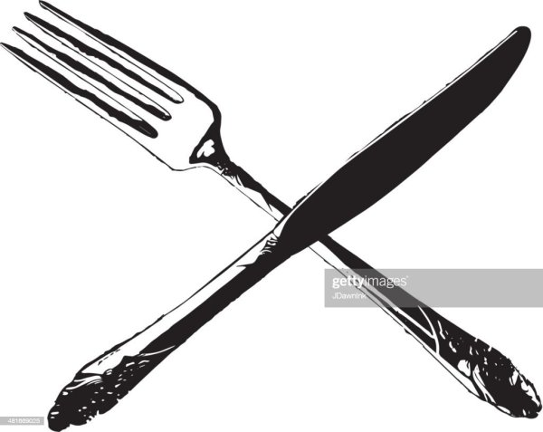 Fork And Knife Crossed In An X Formation Vector Art