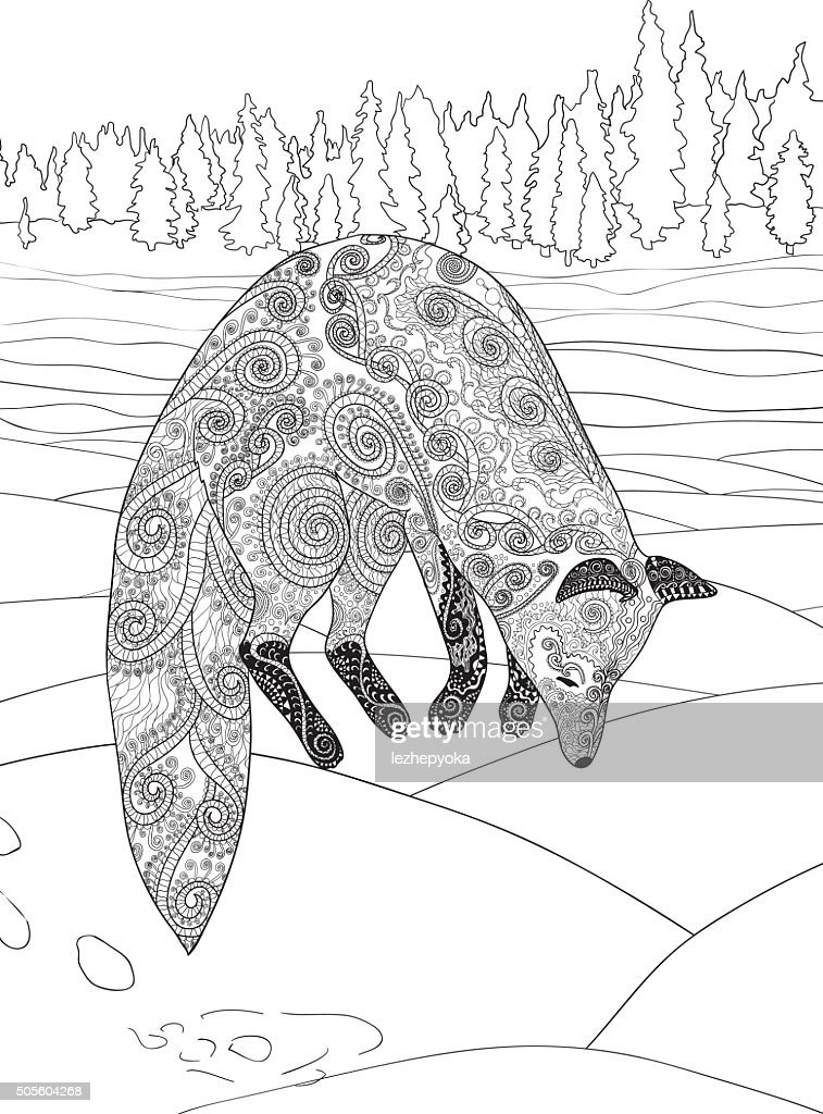 Fox Hunt Adult Coloring Page For Antistress Art Therapy