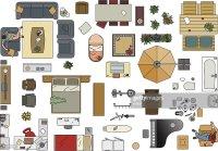 Furniture Floor Plan In Color Vector Art
