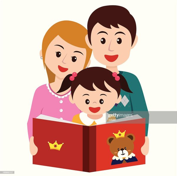 Girl Reading Story Book With Parents Vector Art Getty