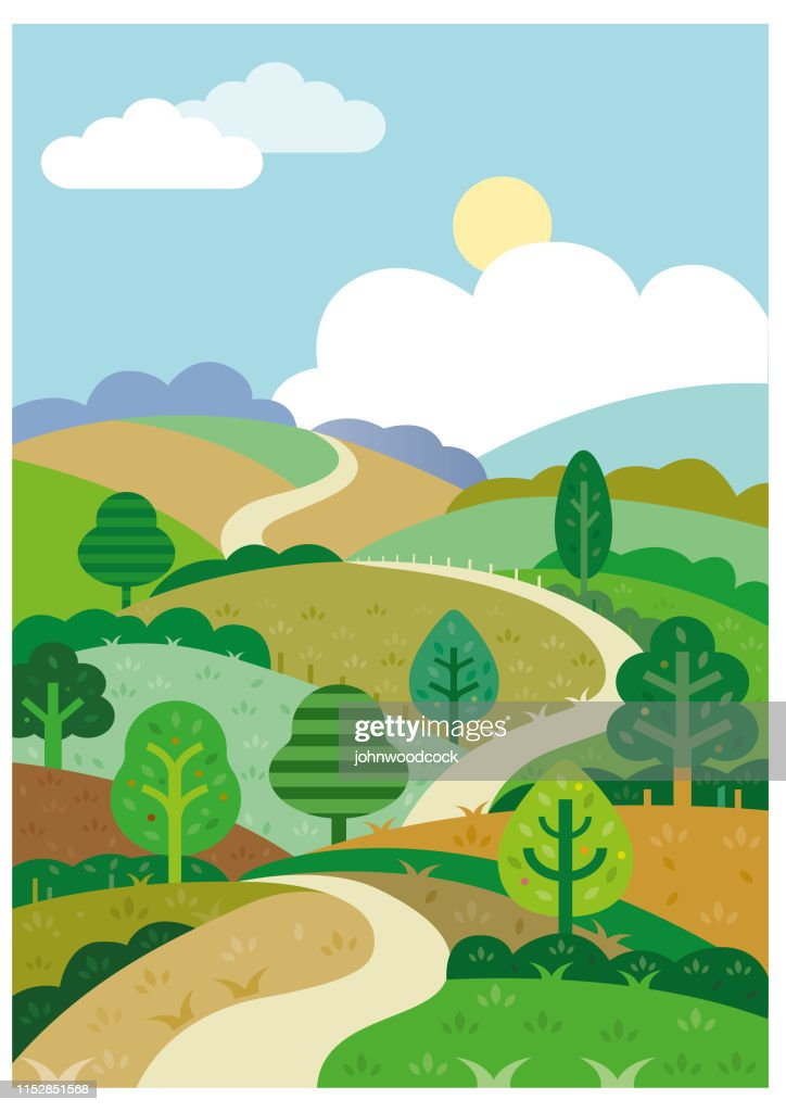 Rolling Hills Drawing : rolling, hills, drawing, Green, Rolling, Hills, Illustration, High-Res, Vector, Graphic, Getty, Images