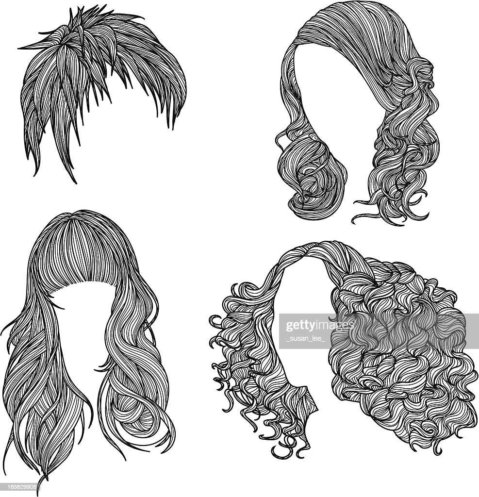 curly hair stock illustrations