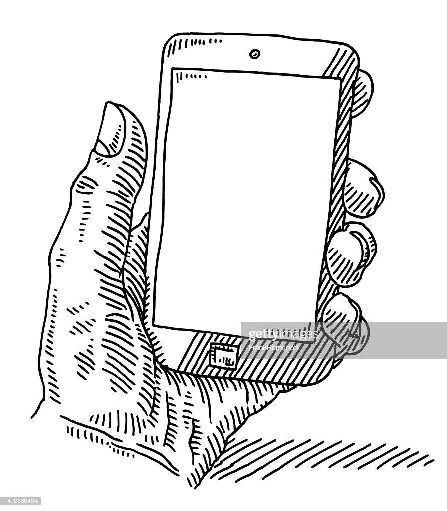 Hand Holding Smart Phone Blank Screen Drawing Vector Art